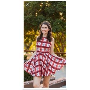 Maison Jules plaid fit and flare dress